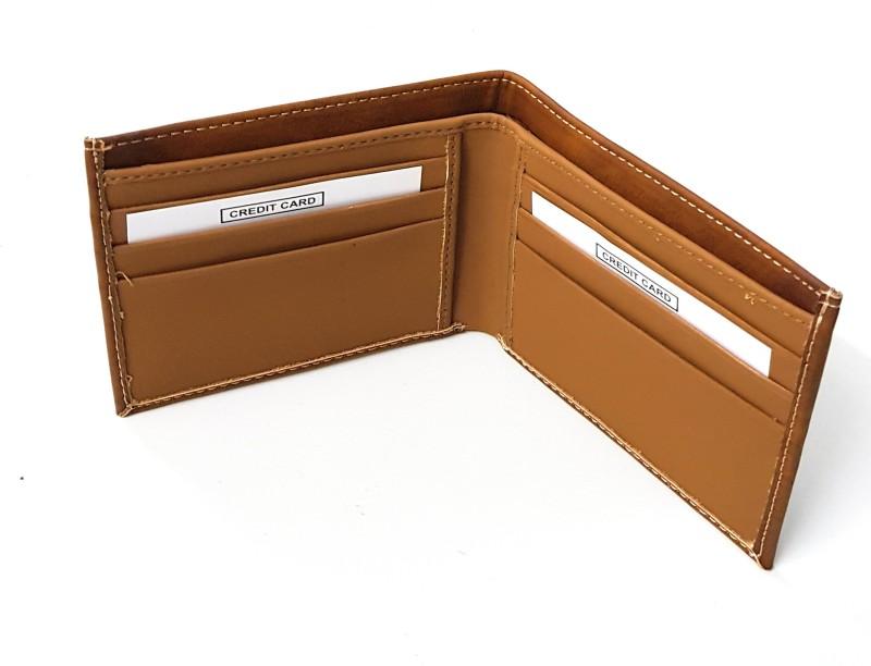 11e Men Tan Artificial Leather Wallet(6 Card Slots)