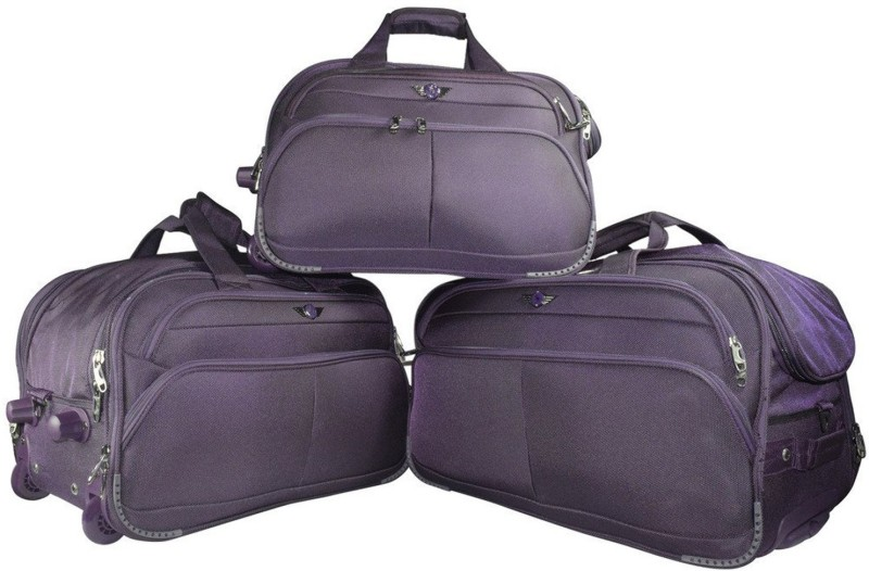 Texas USA Imported Water Resistant Set of 3 (20+22+24 Inch) Duffel Bags with Inbuilt Trolley Carry it on your shoulder or pull along as a trolley bag  (Expandable) Duffel Strolley Bag(Purple)