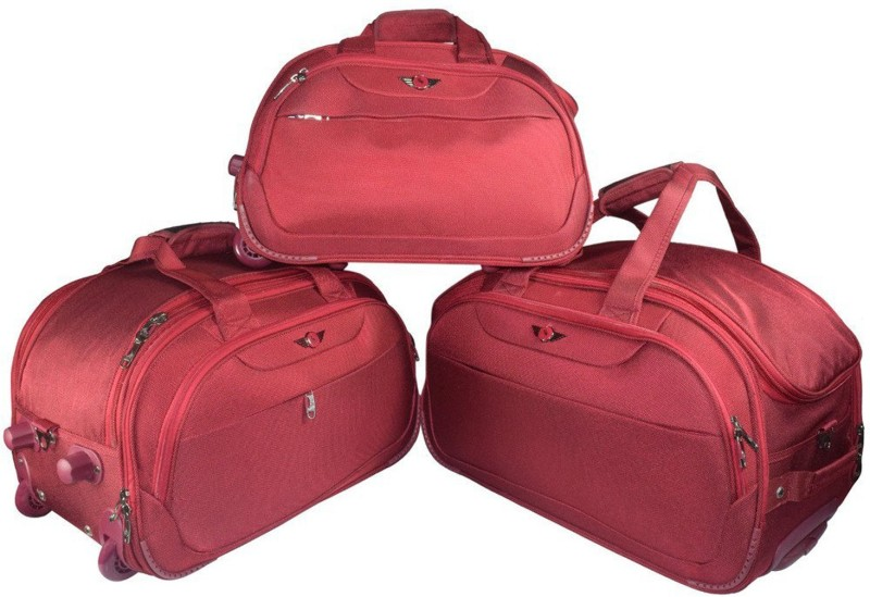 Texas USA Imported Water Resistant Set of 3 (20+22+24 Inch) Duffel Bags with Inbuilt Trolley Carry it on your shoulder or pull along as a trolley bag  (Expandable) Duffel Strolley Bag(Red)