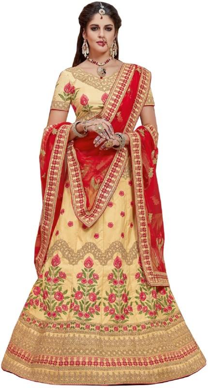 Aarti Apparels Embroidered Semi Stitched Lehenga, Choli and Dupatta Set(Beige)