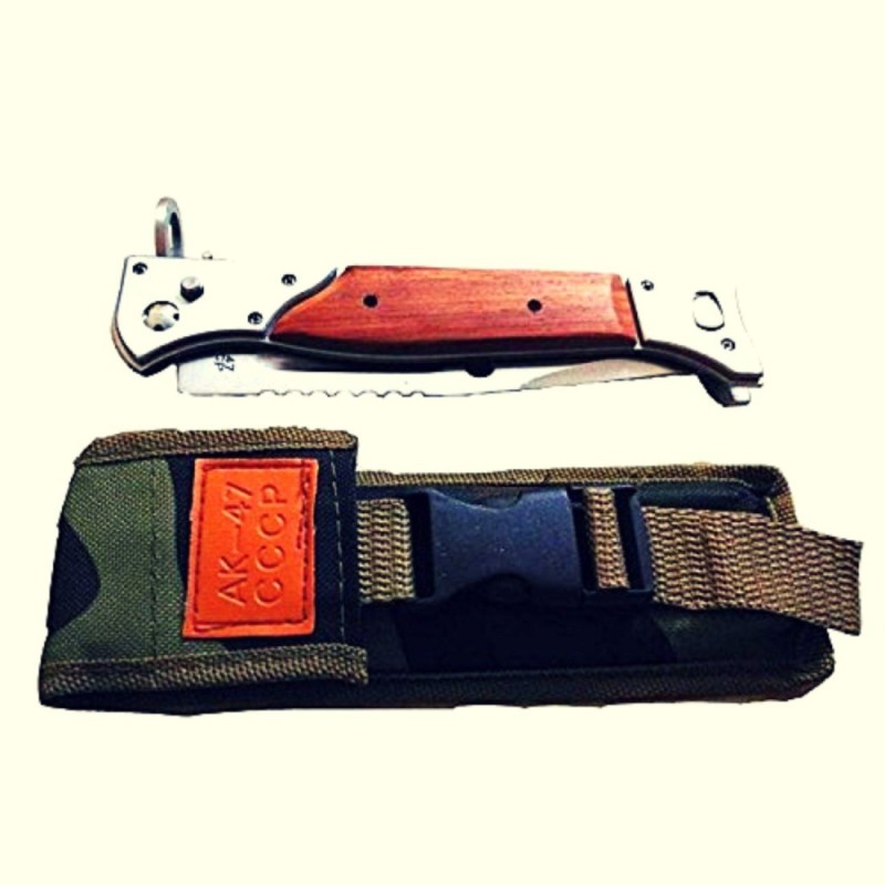 Luxe Mart AK-47 Survival Folding Knife 1 Swiss Army Knife(Silver, Brown, Multicolor)