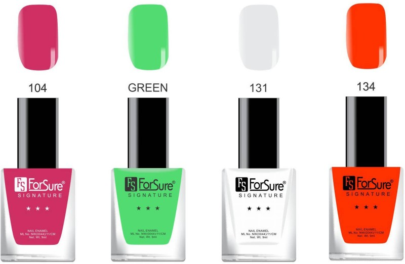 Forsure Signature Matte Nail Polish Red, Green, White, Pink(Pack of 4)