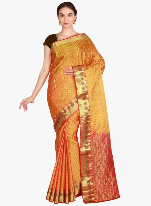 The Chennai Silks Woven Kanjivaram Pure Silk Saree(Yellow, Red)