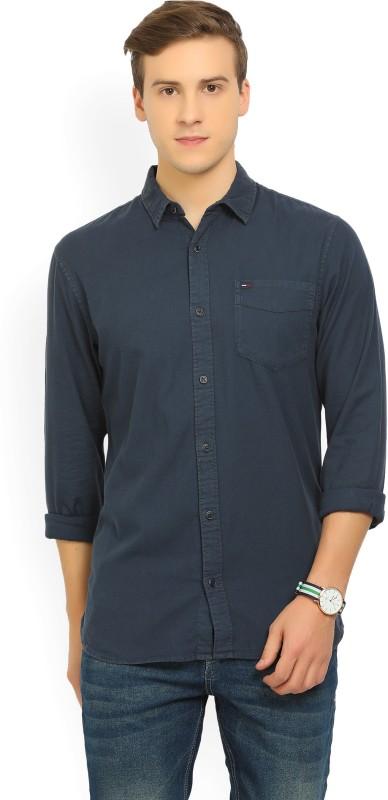 Tommy Hilfiger Mens Woven Casual Dark Blue Shirt