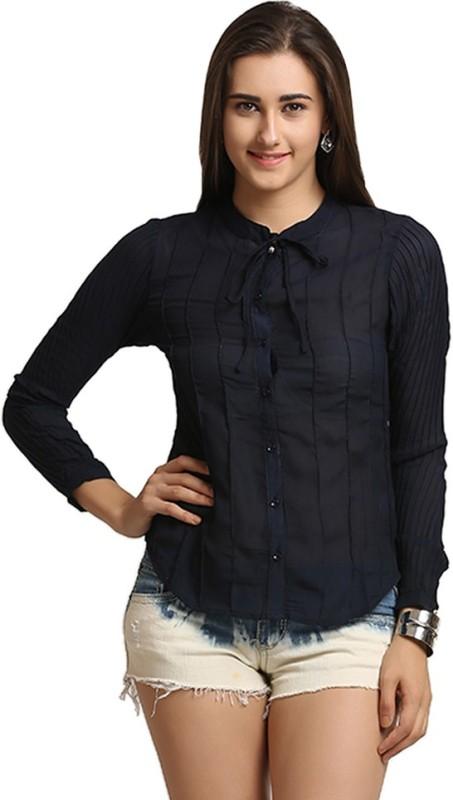 Moda Elementi Women Solid Casual Dark Blue Shirt