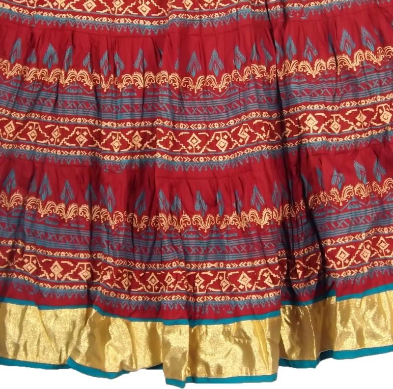 Adiboo Printed Women Flared Maroon, Gold Skirt