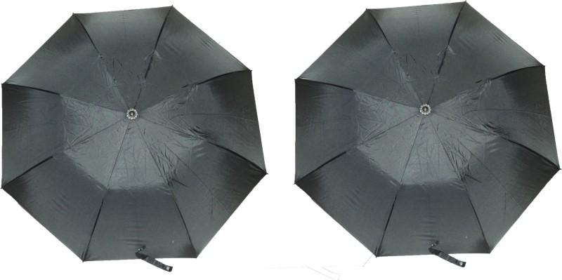 K.C Paul Master 2 Fold Pack of 2 Umbrella(Black)