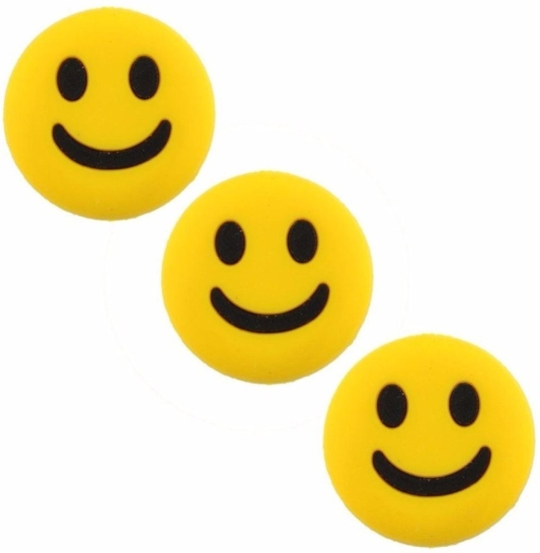 Shrih 3Pcs Smiley Shape Tennis Racket Vibration Dampener.(Yellow, Pack of 3)