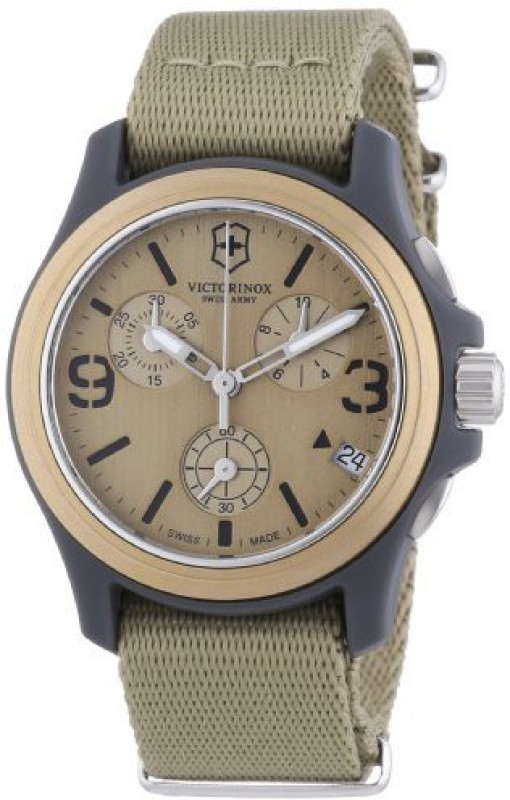Victorinox Gold8310 Victorinox Swiss Army Unisex 241533 Original Chronograph Beige Nylon Strap Watch Watch - For Men