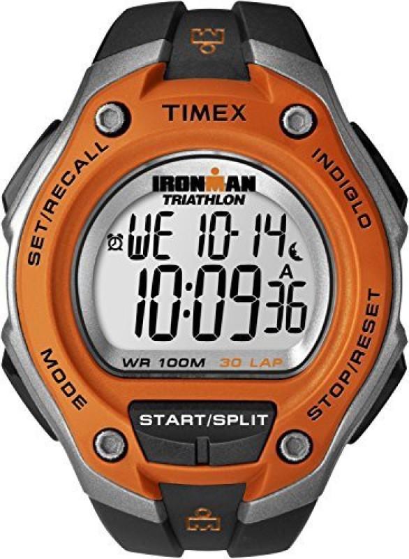Timex Digital 5532 Timex Mens T5K529 Ironman Classic 30 Oversized Black/Orange Resin Strap Watch Watch - For Men