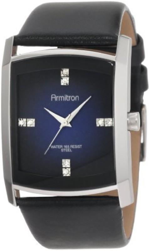 Armitron blue4017 Armitron Men's 204604DBSVBK Dress Swarovski Crystal Accented Silver-Tone Black Leather Strap Men's Watch Men's Watch image