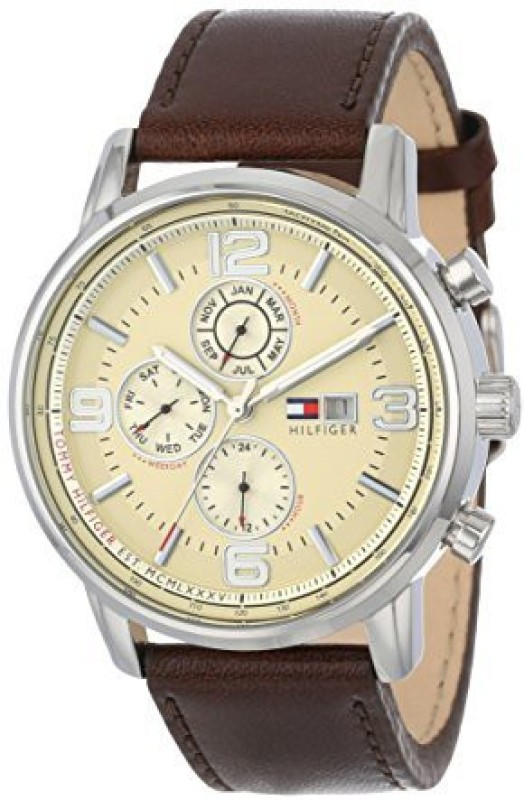 Tommy Hilfiger Beige9411 Tommy Hilfiger Mens 1710337 Stainless Steel Brown Leather Watch Watch - For Men