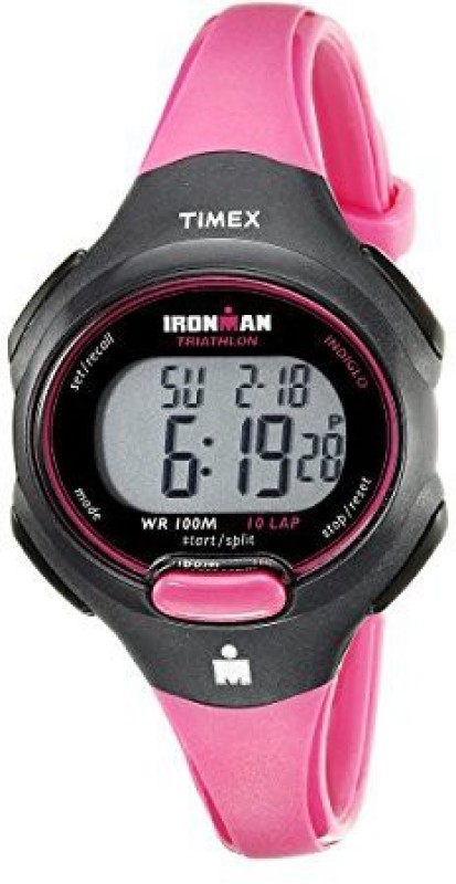 Timex Digital 5529 Timex Womens T5K525 Ironman Essential 10 Mid-Size Pink/Black Resin Strap Watch Watch - For Women