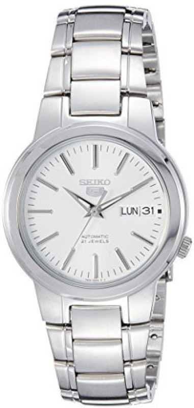 Seiko White 1668 Seiko Men's SNKA01K1 Seiko 5 Automatic White Dial Stainless Steel Watch Men's Watch