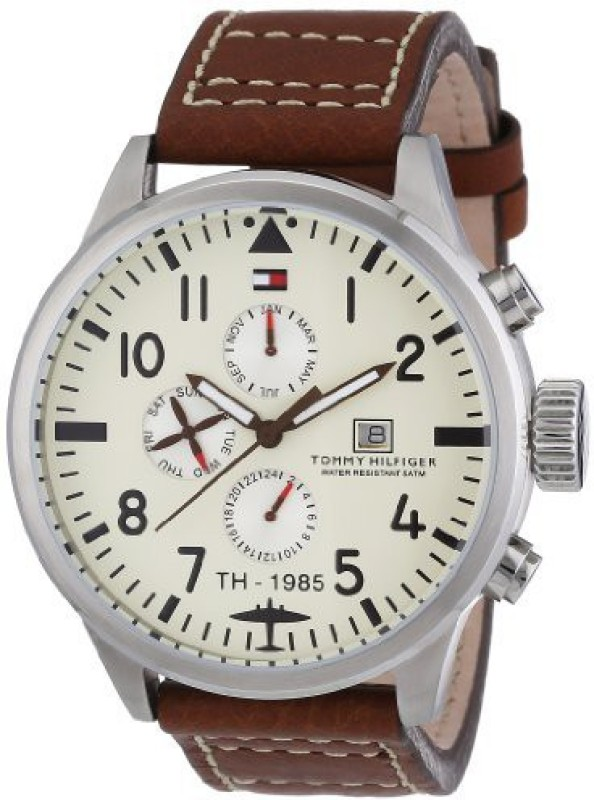 Tommy Hilfiger white4311 Tommy Hilfiger Mens 1790684 Brown Leather Quartz Watch with Beige Dial Watch - For Men