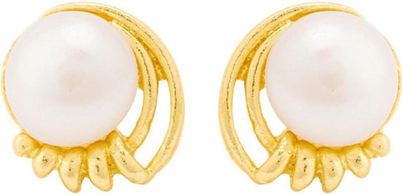 Voylla Tiny Pearl Embellished Stud Earrings Pearl Brass Stud Earring
