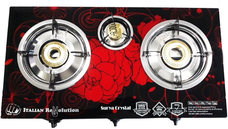 SURYA CRYSTAL 3 Burner Auto Gas Stove.(Design will be sent as per stock availability but the color will be same.) Stainless Steel Automatic Gas Stove(3 Burners)
