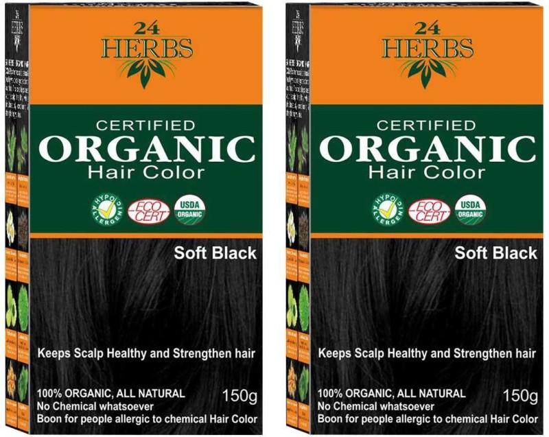 24 Herbs Certified Organic Soft Black No Ammonia Hair Color - Twin Pack Hair Color(Soft Black)