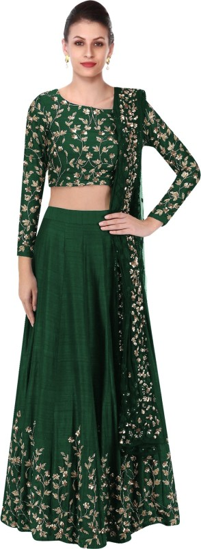 Fabron Embroidered Semi Stitched Lehenga, Choli and Dupatta Set(Green)