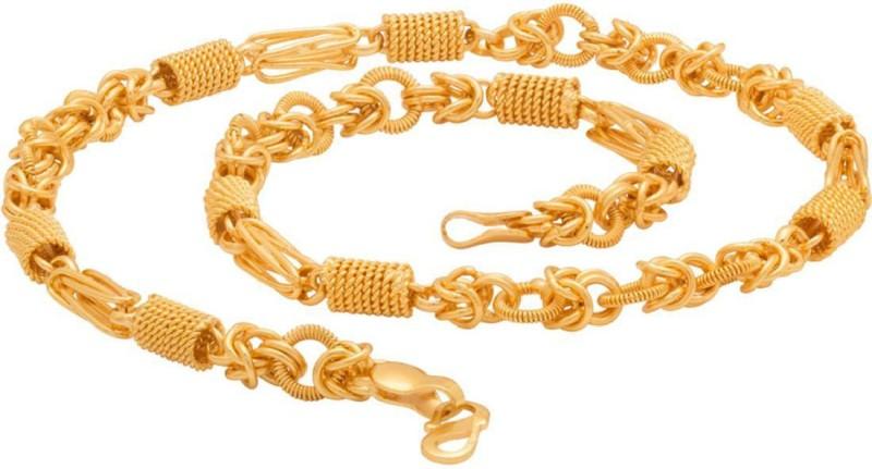 Voylla Artificial Classic Textured Rhodium Plated Brass Chain