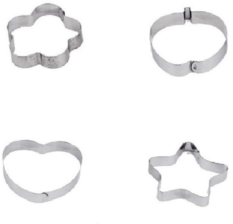 Magnusdeal CW-1020 Multi Mould Pie Crust Cutter Hearts, Star, Flower, Stripes(Silver ; Pack of  4)