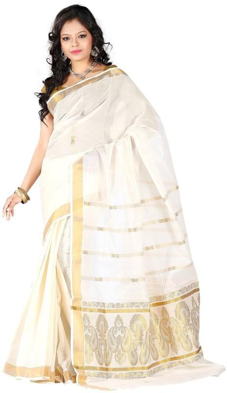 Rightshape Woven, Striped Kerala Cotton Saree(Cream, Gold)