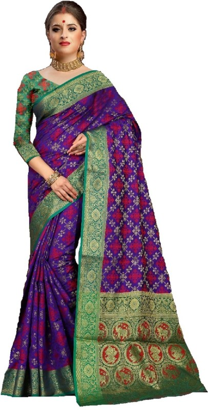 Shoppershopee Animal Print, Self Design Patola Polycotton, Silk Saree(Purple)