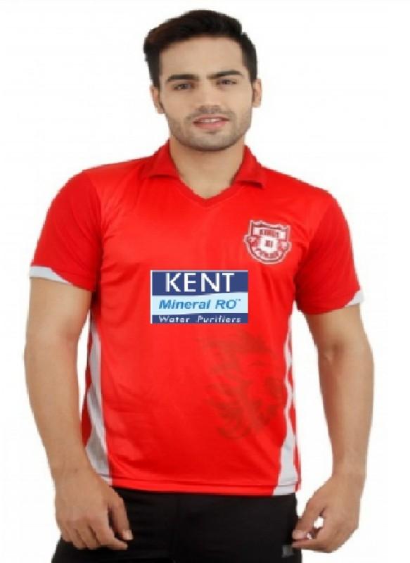 Kings XI Punjab Solid Men Mandarin Collar Red T-Shirt