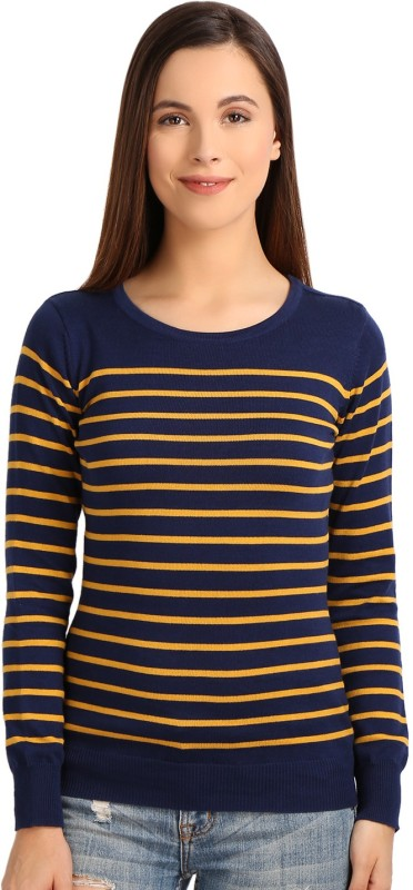Manola Striped Round Neck Casual Women's Blue, Yellow Sweater