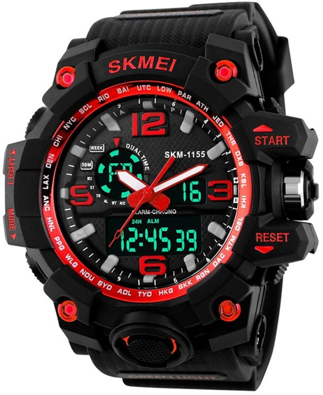 Skmei 1155 FAST SELLING ROUND MUTLI FUNCTION CHRONOGRAPH WORKING FAST SELLING ROUND DIAL WATCH UNIQUE RUBBER BELT WATCH FOR FESTIVAL & PARTY WEAR COLLECTION Watch - For Men & Women