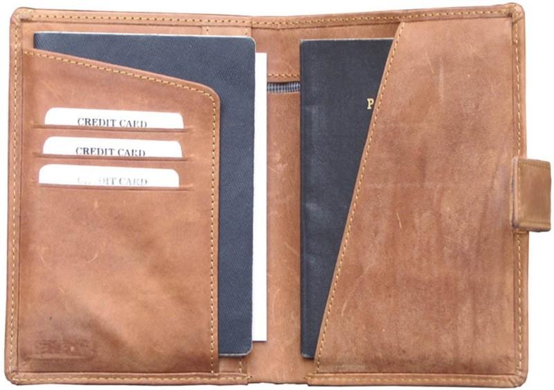 Abys 100% Hunter Leather Travel Document Holder/Passport Holder for Men & Women(Tan)