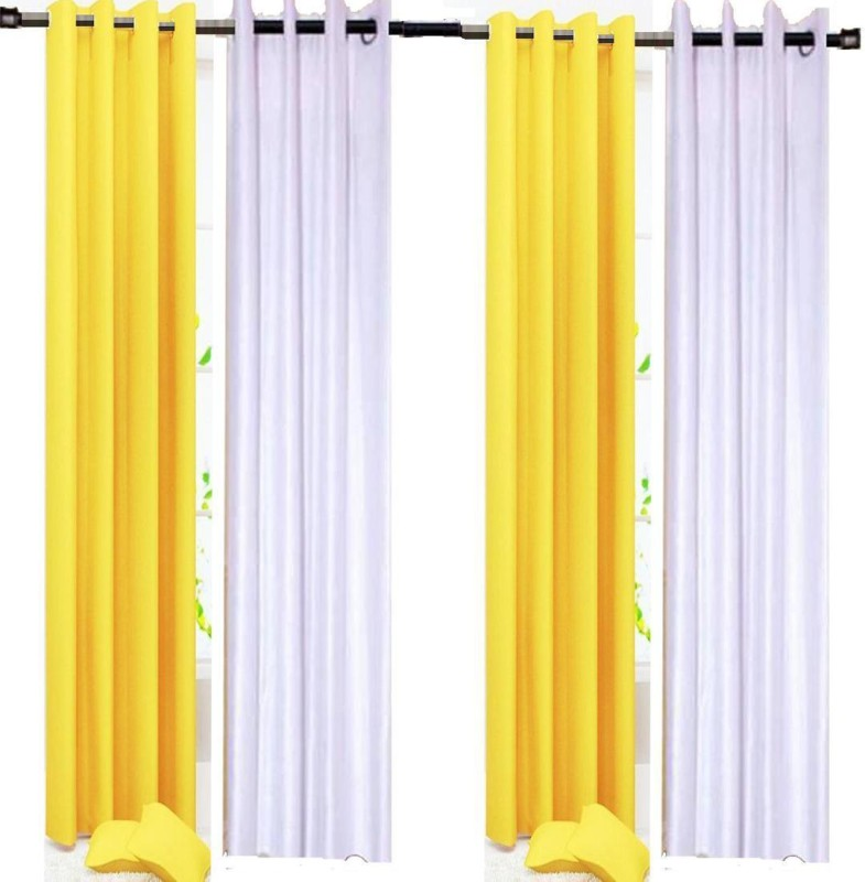check MRP of white yellow curtains G S COLLECTIONS
