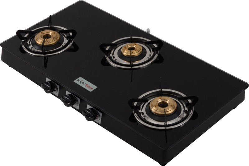 Bright Flame Tulip Glass, Steel Automatic Gas Stove(3 Burners)