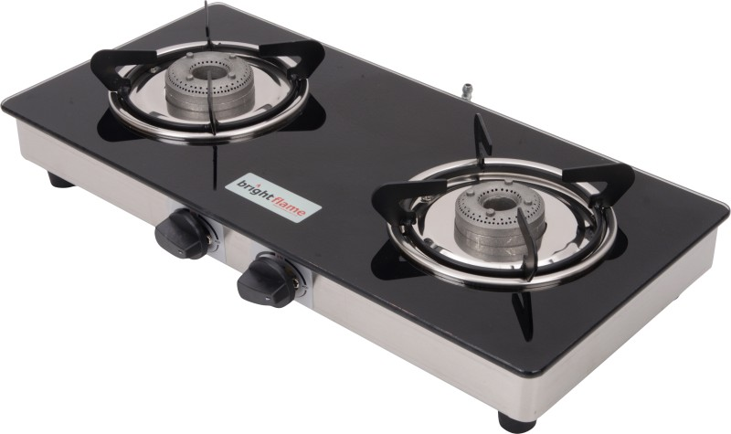 Bright Flame Compact Glass, Stainless Steel Manual Gas Stove(2 Burners)
