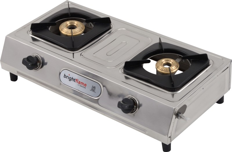 Bright Flame Vento LPG Stainless Steel Manual Gas Stove(2 Burners)