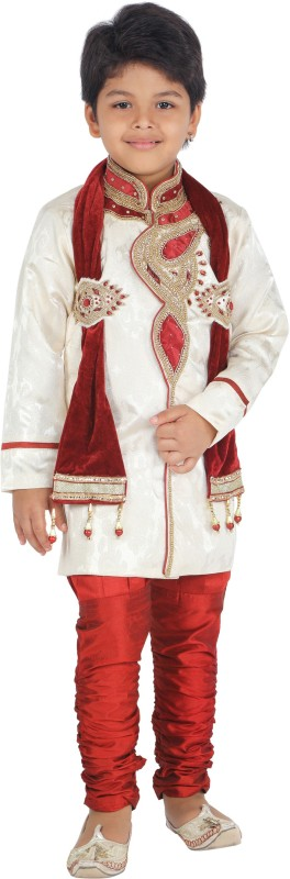 Klaud Zee Boys Wedding Sherwani and Churidar Set(Maroon Pack of 1)