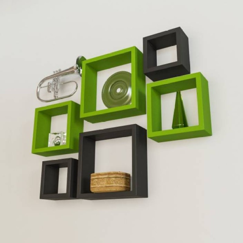 OnlineCraft wooden wall rack stand Wooden Wall Shelf(Number of Shelves - 6, Green, Black, Multicolor)