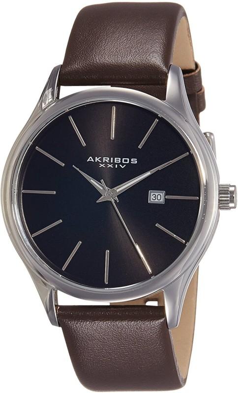 Akribos XXIV Black 13674 Akribos XXIV Mens AK618BR Quartz Movement Watch with Black Dial and Brown Genuine Leather Strap Watch - For Men