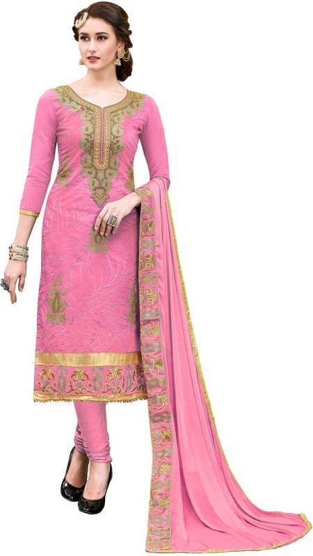 Saara Poly Chanderi Embroidered Salwar Suit Dupatta Material(Un-stitched)