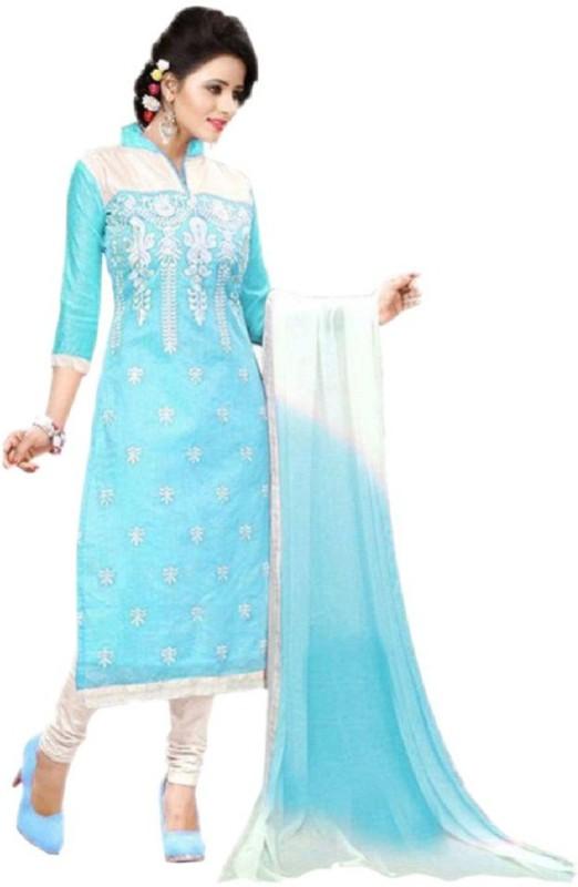 Rainbow creation Cotton Silk Blend Embroidered Salwar Suit Dupatta Material(Un-stitched)