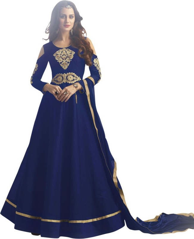 Saara Poly Silk Embroidered Semi-stitched Salwar Suit Dupatta Material