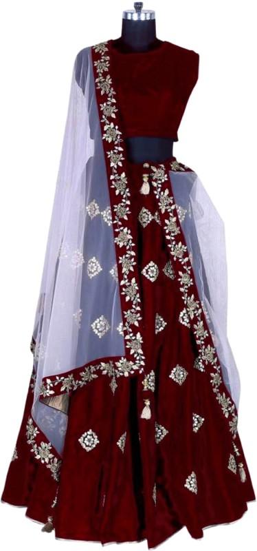 Shree Impex Embroidered Semi Stitched Lehenga, Choli and Dupatta Set(Multicolor)