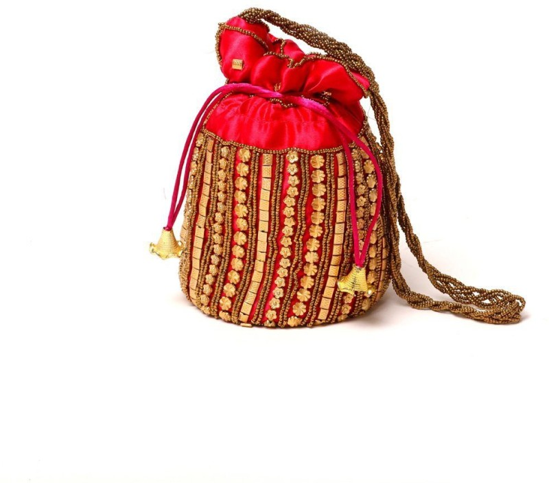 Kolorfish Indian Vibrant & Designer, Traditional Potli for Party-Wedding-Festival Gifting/ Jewellery Pouch/ Coin Pouch/ Make up bag Red 1 piece Potli(Red)
