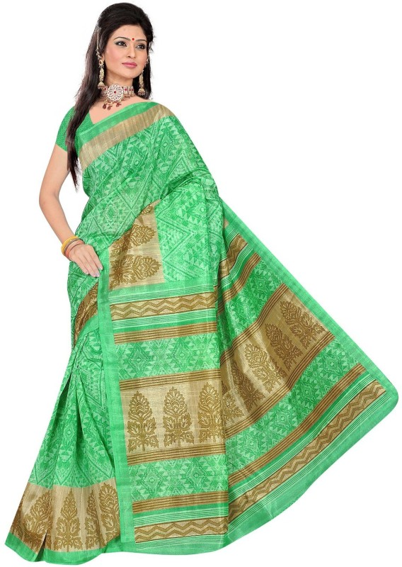 Winza Designer Printed, Self Design, Paisley, Geometric Print, Solid Bhagalpuri Cotton Blend Saree(Green)