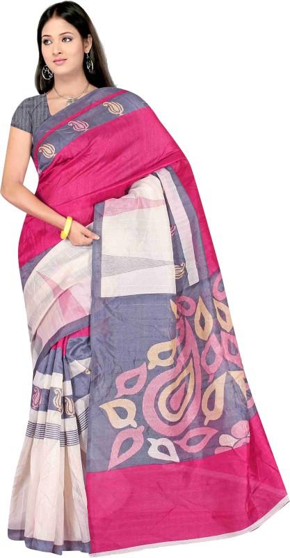 Winza Designer Self Design, Printed, Paisley, Geometric Print, Solid Bhagalpuri Cotton Silk Saree(White, Pink)
