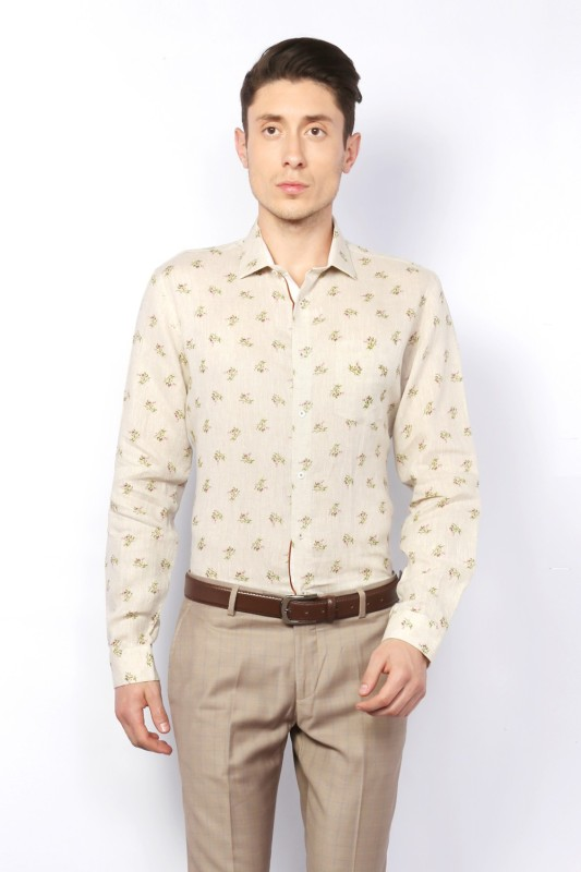 Van Heusen Men Printed Formal Beige Shirt