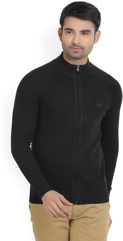 Fort Collins Solid Turtle Neck Casual Mens Black Sweater