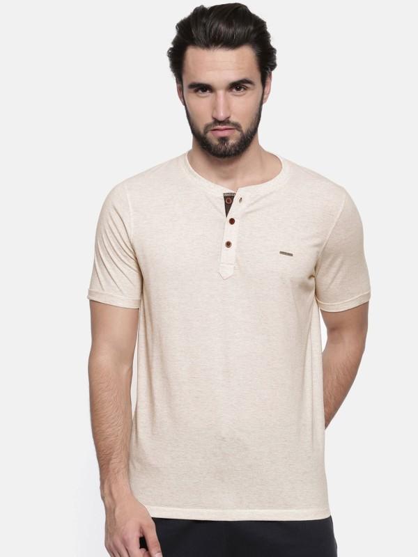 Proline Solid Men Henley Grey T-Shirt