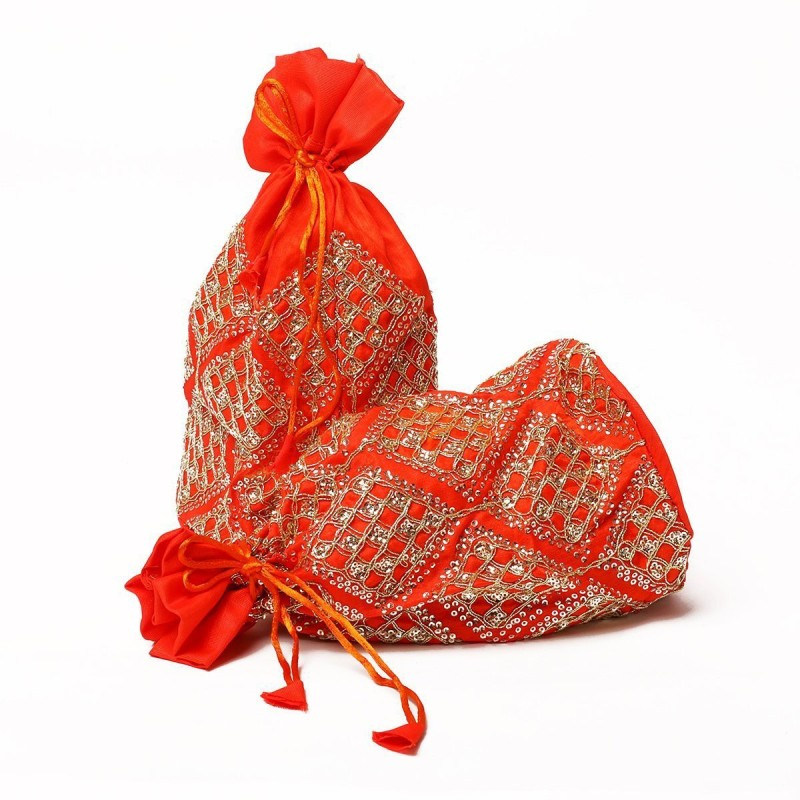 Kolorfish Sequence Square Indian Vibrant & Designer, Traditional Potli for Party-Wedding-Festival Gifting/ Jewellery Pouch/ Coin Pouch/ Make up bag Orange 5 pieces Potli(Orange)