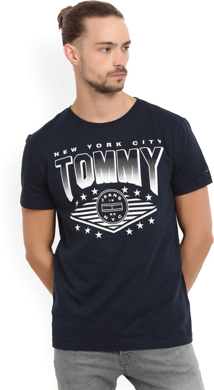 Tommy Hilfiger Printed Mens Round Neck Dark Blue T-Shirt